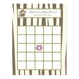 Writable Bingo Card Jacana Girl Jungle Zoo Animal Post Card