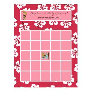 Writable Bingo Card Pink Hawaiian Luau Tropical