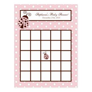Writable Bingo Card Pink Ladybug