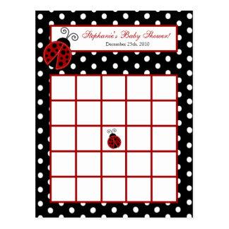 Writable Bingo Card Red Ladybug Postcard