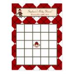 Writable Bingo Card Red Sock Monkey Argyle Postcard