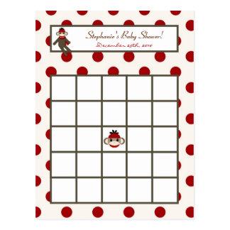 Writable Bingo Card Red Sock Monkey Postcard