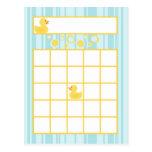 Writable Bingo Card Rubber Ducky Bubbles Postcard