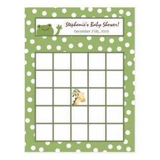 Writable Bingo Card Safari Jungle Animals Green