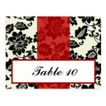 Writable Place Card Black Flourish Red Stripe Post Card