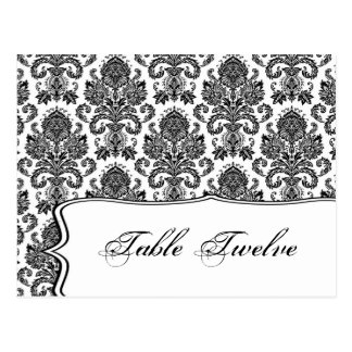 Writable Place Card Black White Damask Lace Print Postcard