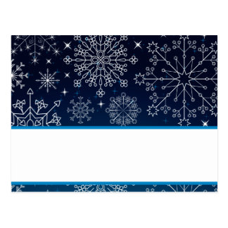 Writable Place Card Blue Stars and Snowflakes