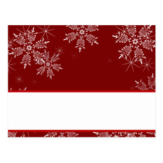 Writable Place Card Christmas Red Snowflakes