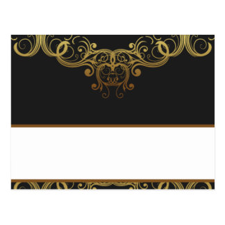 Writable Place Card Gold and Black Damask Postcard