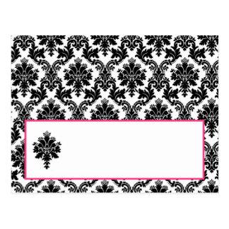 Writable Place Card Hot Pink Black Damask