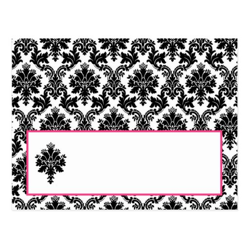 Writable Place Card Hot Pink Black Damask Post Cards