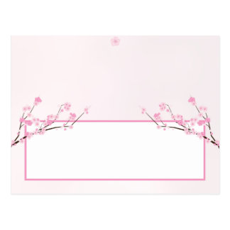 Writable Place Card Pink Cherry Blossom