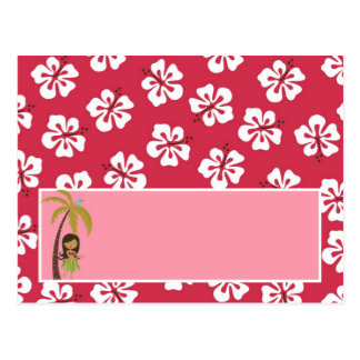 Writable Place Card Pink Hawaiian Luau Tropical