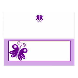Writable Place Card Purple Spring Time Butterfly