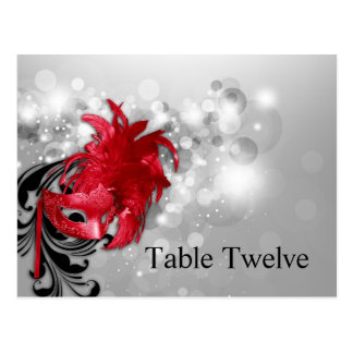 Writable Place Card Red on Silver Masquerade