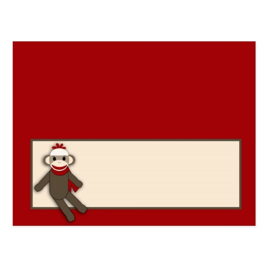 Writable Place Card Red Sock Monkey
