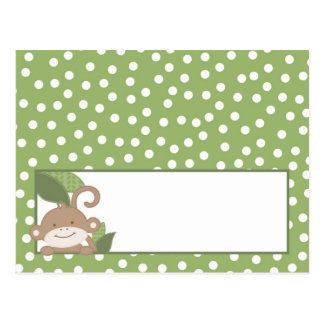 Writable Place Card Safari Jungle Monkey Green