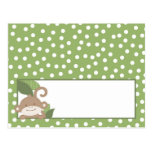 Writable Place Card Safari Jungle Monkey Green Postcard