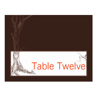 Writable Place Fall Tree Initial Carvings Autumn Postcard