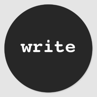 write classic round sticker