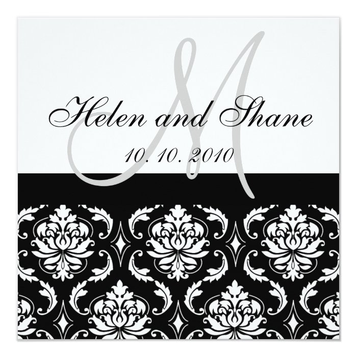 Write Guest's Name On Damask Wedding Invitation