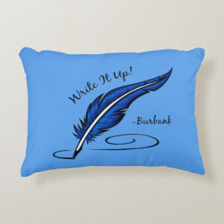 Write It Up! - Burbank Throw Pillow in Blue