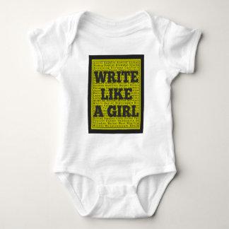 Write Like a Girl Charcoal Baby Bodysuit