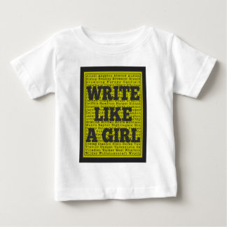 Write Like a Girl Charcoal Baby T-Shirt