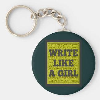 Write Like a Girl Charcoal Keychain