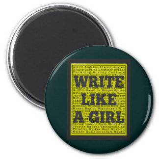 Write Like a Girl Charcoal Fridge Magnets