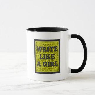 Write Like a Girl Charcoal Mug