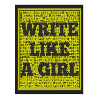Write Like a Girl Charcoal Postcard