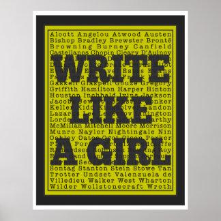 Write Like a Girl Charcoal Print