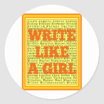 Write Like a Girl Citrus Classic Round Sticker