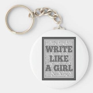 Write Like a Girl Gray Keychain