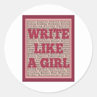 Write Like a Girl Lipstick Classic Round Sticker