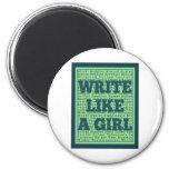 Write Like a Girl Peacock Fridge Magnets