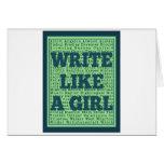 Write Like a Girl Peacock Greeting Card