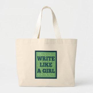 Write Like a Girl Peacock Large Tote Bag