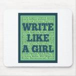 Write Like a Girl Peacock Mouse Pad