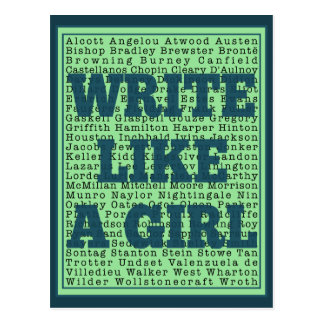 Write Like a Girl Peacock Postcard