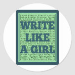 Write Like a Girl Peacock Round Stickers