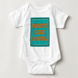 Write Like a Girl Teal Baby Bodysuit