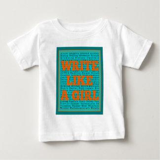 Write Like a Girl Teal Baby T-Shirt