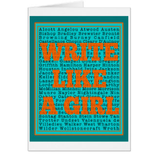 Write Like a Girl Teal Greeting Card