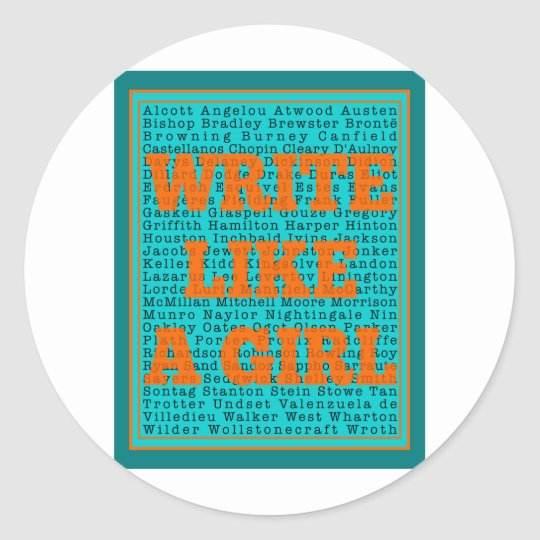 Write Like a Girl Teal Classic Round Sticker