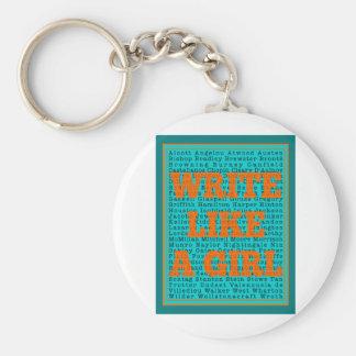 Write Like a Girl Teal Keychain