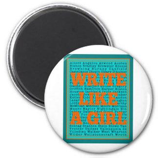 Write Like a Girl Teal Magnets