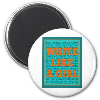 Write Like a Girl Teal Fridge Magnet