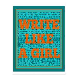 Write Like a Girl Teal Postcard